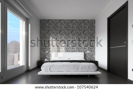 modern bedroom with wall paper black and white - stock photo