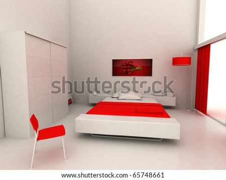 modern bedroom without textures