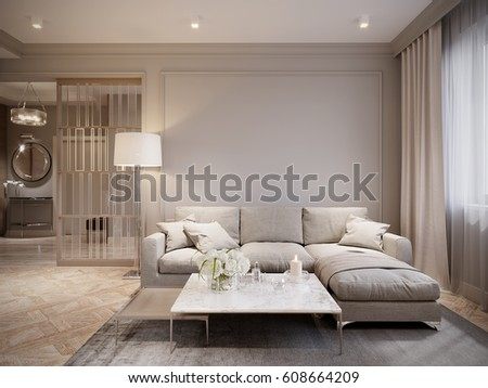 modern beige gray living room interior stock illustration 608664209 shutterstock. Black Bedroom Furniture Sets. Home Design Ideas