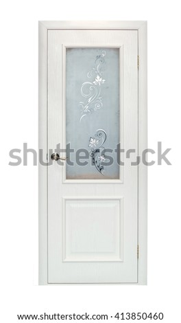 Modern beige room door isolated on white background - stock photo