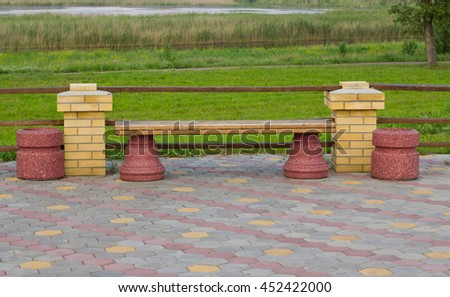 Modern bench in the Park - stock photo