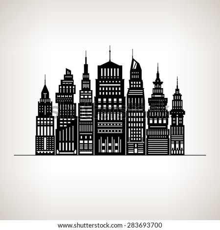 Modern Big City with Buildings and Skyscraper, Architecture Megapolis, City Financial Center on a Light Background ,Black and White  Illustration - stock photo