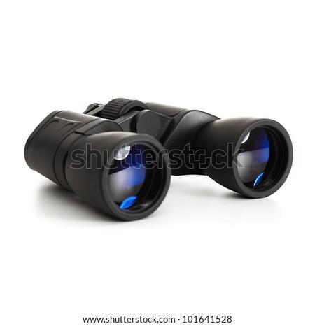 modern binoculars over white background - stock photo