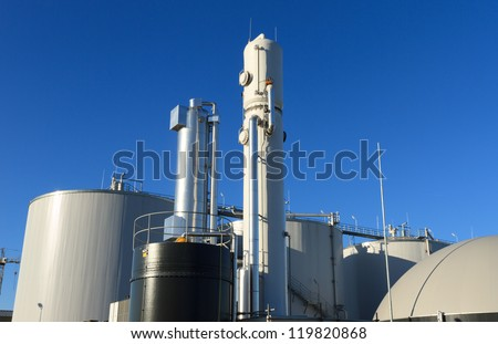 Modern biogas plant in Holland, using sugar beet pulp as a renewable form of energy production. - stock photo