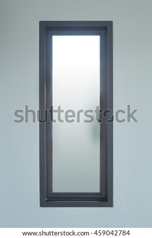 modern black aluminium window with gray wall background