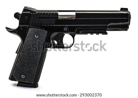 Modern black and chrome pistol filtered gun isolated on white - stock photo