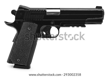 Modern black and chrome pistol gun isolated on white