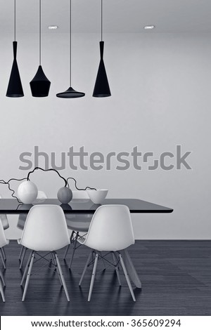 Modern black and white dining room interior with an elegant row of lamps above a table with modular chairs and a stylish center piece of vases and twigs. 3d Rendering. - stock photo