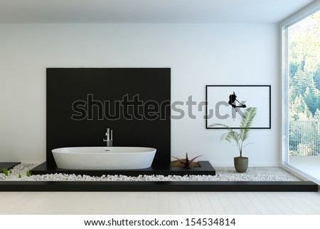 Modern black and white In-Floor Bathroom - stock photo