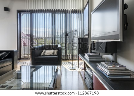 Modern black and white interior apartment with window - stock photo
