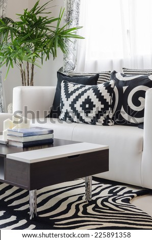 modern black and white living room - stock photo