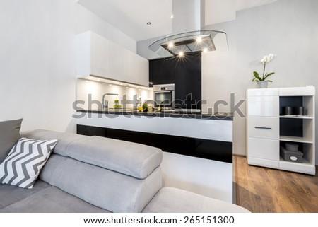 Modern black and white small kitchen interior design - stock photo