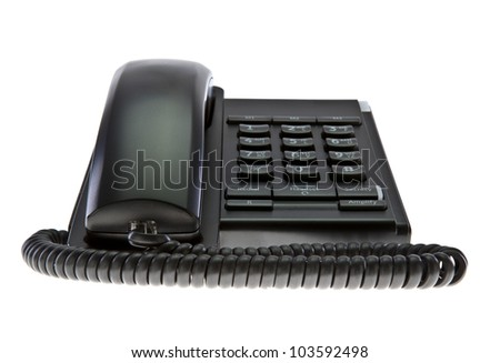 Modern black business office telephone isolated on a white background - stock photo