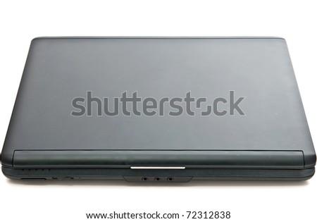Modern black closed laptop isolated on white - stock photo