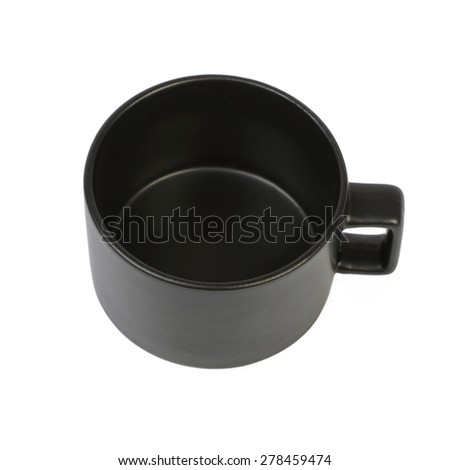 Modern black cup isolated on white background - stock photo