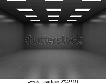 Modern Black Empty Business Room 3D Interior. 3D Rendering - stock photo