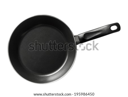 Modern black frying pan isolated on white background