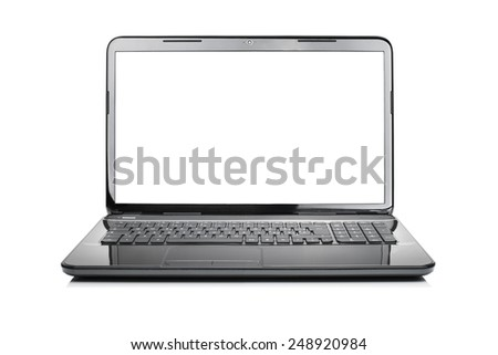 Modern black glossy laptop isolated on white background with clipping lcd - stock photo