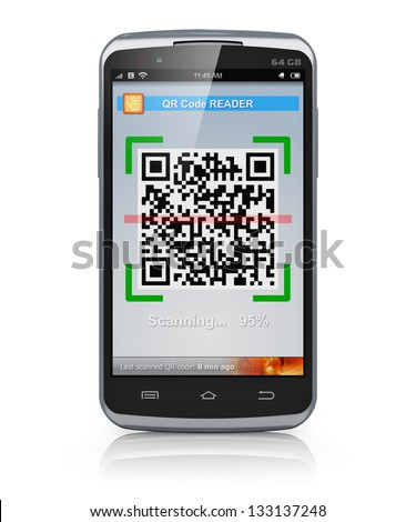 Modern black glossy metal touchscreen smartphone with QR code scanner and reader application isolated on white background with reflection effect - stock photo