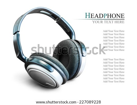 Modern black headphone on the wooden background