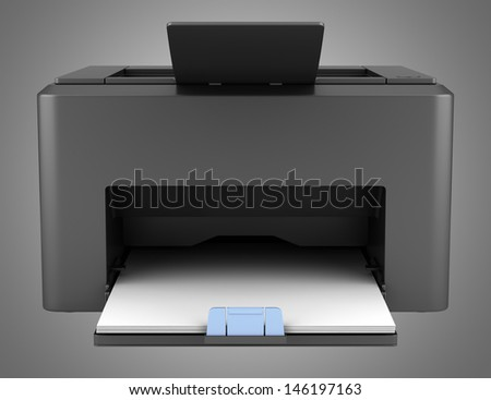 modern black laser printed isolated on gray background