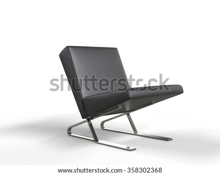 Modern black leather armchair - stock photo