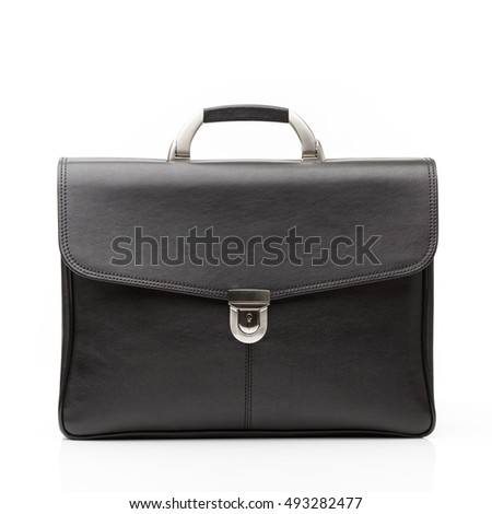 modern black leather men casual or business briefcase isolated on white background