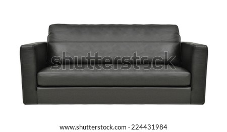 modern black leather sofa isolated - stock photo