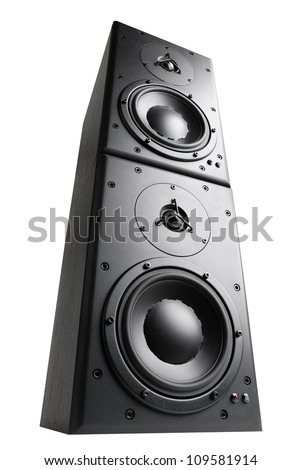Modern black loudspeakers towering on top of each other, isolated studio shot - stock photo