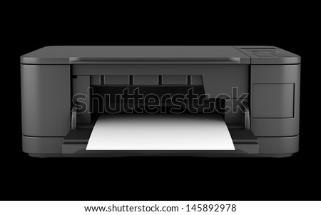 modern black office multifunction printer isolated on black background - stock photo
