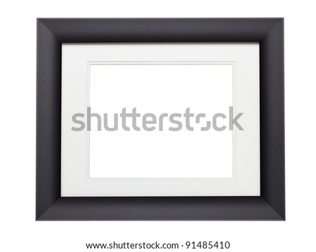 Modern black photo frame with clipping path. Add your own photo - stock photo