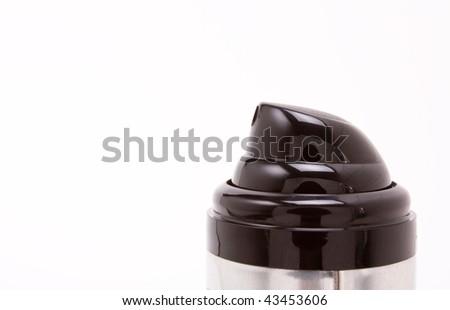 Modern Black plastic Aerosol Nozzle against white background. - stock photo