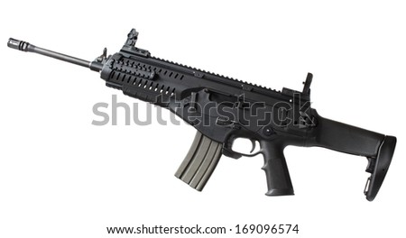 Modern black rifle that is semi automatic isolated on white - stock photo
