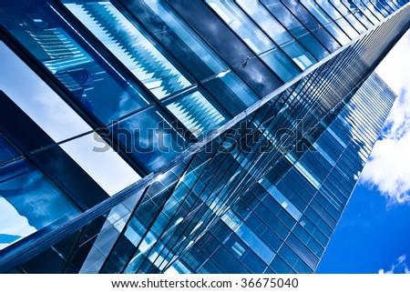 Modern black skyscraper blocks, diagonal composition - stock photo