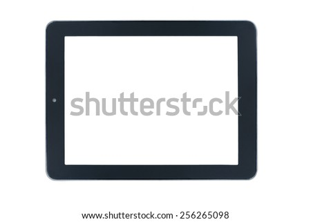 Modern black tablet pc isolated on white background - stock photo