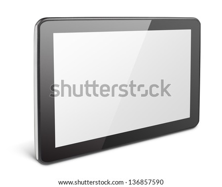 Modern black tablet pc isolated on white with clipping path - stock photo