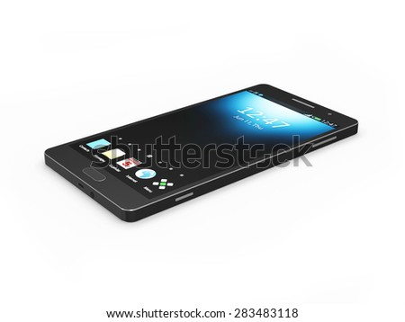 Modern Black Touchscreen Smart Phone isolated on white background - stock photo