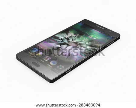 Modern Black Touchscreen Smart Phone with Broken Screen isolated on white background