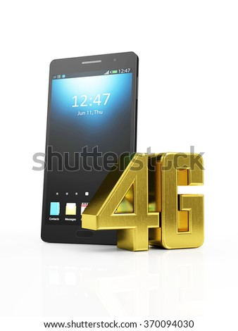 Modern Black Touchscreen Smart Phone with Golden 4G Symbol of Standard Wireless Communication isolated on white background - stock photo