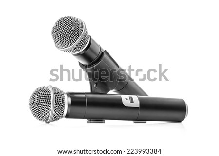 Modern black wireless microphone isolated on white background