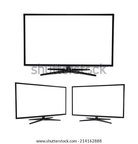 Modern blank flat screen TV set, isolated on white background - stock photo