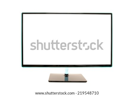 Modern blank white desktop computer monitor with copyspace for your advertising or text isolated on white background. - stock photo