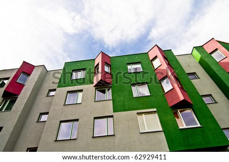 Modern block of flats, colorful and peaceful, idyllic view, an ideal place to live in - stock photo