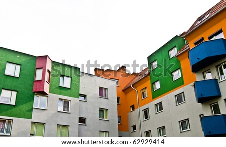 Modern block of flats, colorful and peaceful, idyllic view, an ideal place to live in; isolated