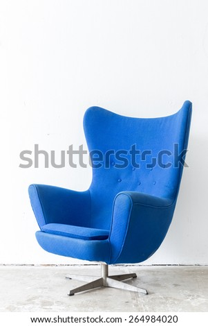 modern Blue Chair contemporary style in vintage room - stock photo