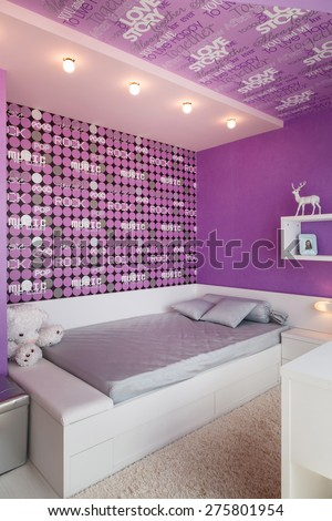 Modern blue children bedroom nobody. - stock photo