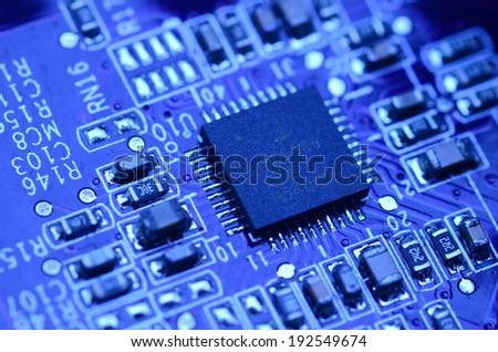 modern blue circuit board - stock photo