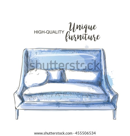 modern blue couch sketch isolate hand drown - stock photo