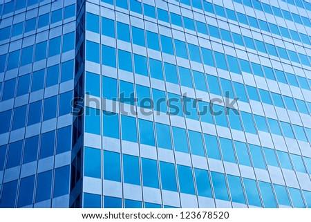 modern blue glass wall - stock photo