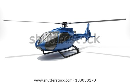 Modern blue helicopter on a light background - stock photo